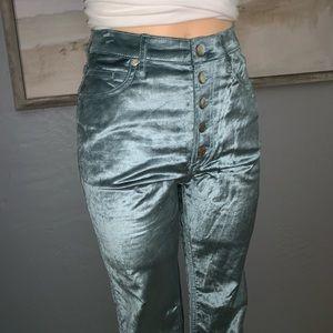 Urban Outfitters BDG Ice Blue Velvet Skinny Pants